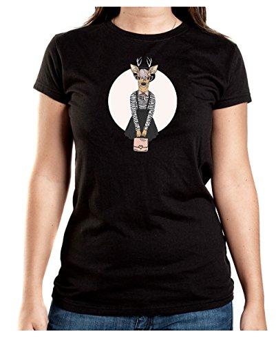 Certified Freak Fashion Deer T-Shirt Girls Black XXL