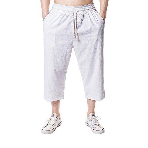 GUOCU Men's 3/4 Casual Cargo Shorts Cotton Blend Elastic Loose Fit Shorts Baggy Pockets Pants