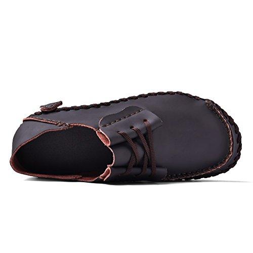 Homme Casual Fait à la main à lacets Chaussures en cuir véritable Violet