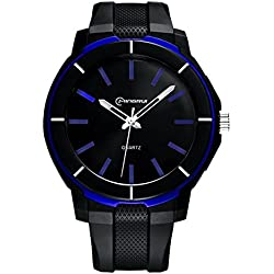 Boys Watches Leather Band 30m Waterproof Analog Quartz WristWatch(Blue)