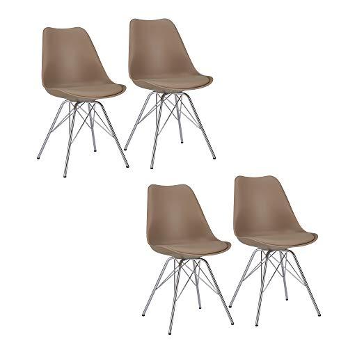 Duhome Esszimmerstuhl 4er Set Küchenstuhl Cappuccino Beige Kunststoff mit Sitzkissen Stuhl Vintage Design Retro Farbauswahl 518J