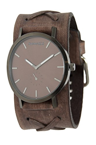 Nemesis Men's Quartz Stainless Steel and Leather Casual Watch, Color:Brown (Model: B72B222B)