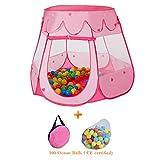 Wellhome Kinderspielzelt Pop up Zelt Spielhaus Bällebad Spielzelt Mädchen Prinzessin Baby für Drinnen Draußen mit 100 Bälle und Tragtasche Rosa
