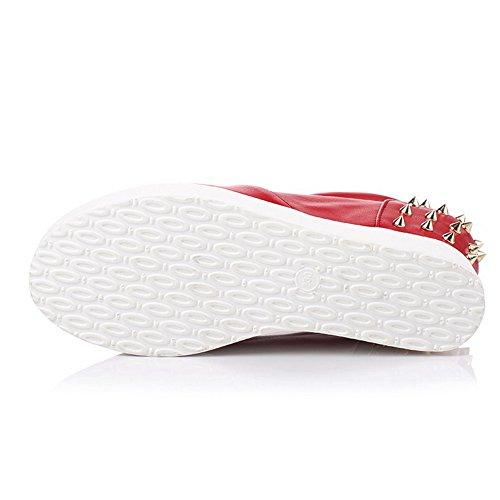 AgooLar Damen Rund Zehe Hoher Absatz Ziehen Auf Rein Pumps Schuhe Rot