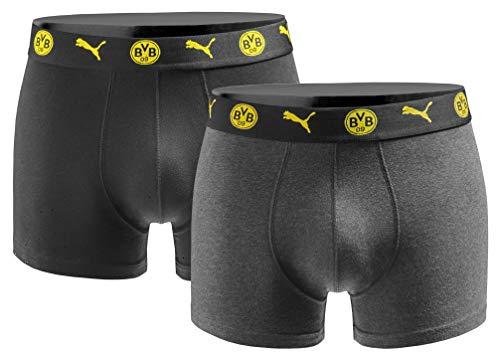 Puma Herren Boxershort BVB Borussia Dortmund 2er Pack - Black Grey Gr. L