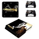 Playstation 4 Slim + 2 Controller Aufkleber Schutzfolien Set - Uncharted 4 (4) /PS4 S