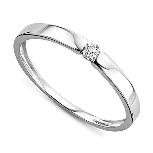Orovi Ring für Damen Verlobungsring Gold Solitärring Diamantring 9 Karat (375) Brillianten 0.05ct Weißgold oder GelbGold Ring mit Diamanten Ring Handgemacht in Italien (Weißgold Ring Damen Diamant)