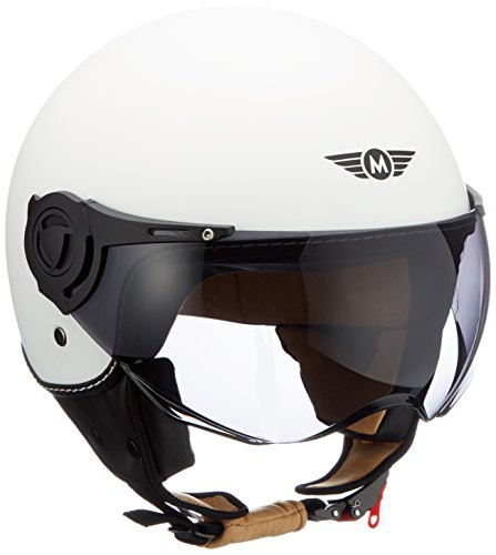 frauen helm Moto Helmets H44 Matt White · Chopper Scooter-Helm Biker Bobber Jet-Helm Roller-Helm Helmet Vintage Vespa-Helm Mofa Cruiser Retro Moto Helmetsrrad-Helm Pilot · ECE zertifiziert · inkl. Sonnenvisier · inkl. Stofftragetasche · Weiß · XL (61-62cm)