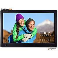 Cytem Diamine QS 13sw Digitaler Bilderrahmen 33,5cm (13.3 Zoll) in 16:9 Full HD (1920 x1080) IPS | Bewegungssensor | Transparenter Kalender | 4 Bild Anzeige | Vollbild-Uhr | Schwarz