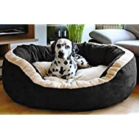 Hiputee Luxurious and Durable Polyester Filled Soft Dual Colour Dog/Cat Bed (Small, Black) 65x65x20 cms