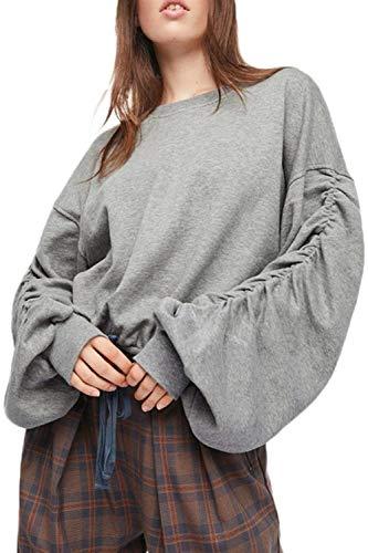 """Anaisy Oberteile Frauen Paffen Sweatshirt Einfach Ã""""rmel Winter Ruched Fallen Bluse Elegante Jungen Fashion Rundhals Pullover Shirt Tops Women (Color : Grey, Size : XL)"""