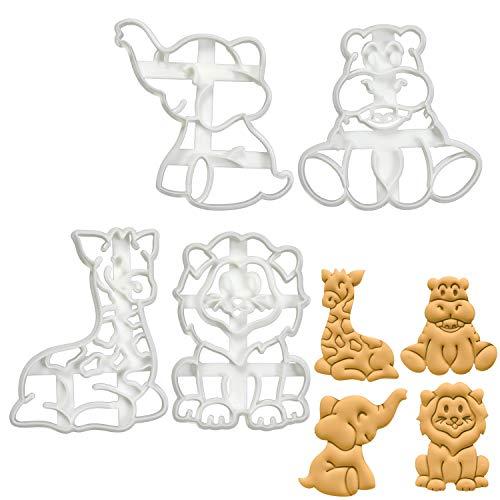 Bakerlogy 4er Set Safari-Babys Ausstechformen (Formen: Löwe, Elefant, Nilpferd, Giraffe), 4 Teile - Safari-tier-ausstechformen