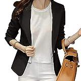 Damen Elegante Slim Fit Tailliert Geschäft Büro Kurzjacke Mantel Anzugjacke Blazer Schwarz S