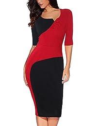 5490e785263bd5 Etuikleid für Arbeit, Frauen Elegant Etuikleider Langarm Knielang Bodycon  Business Kleider