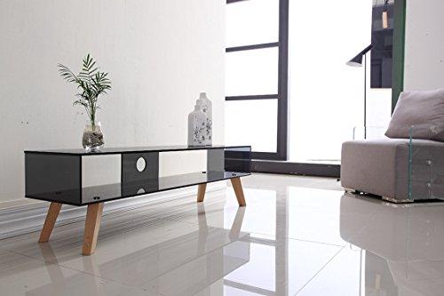 age aus Glas (smoked) | 140 x 35 x 40cm | mit Zwischenablage | Wohnzimmer TV Rack aus einem Stück gebogen | hochwertig verarbeitet ()