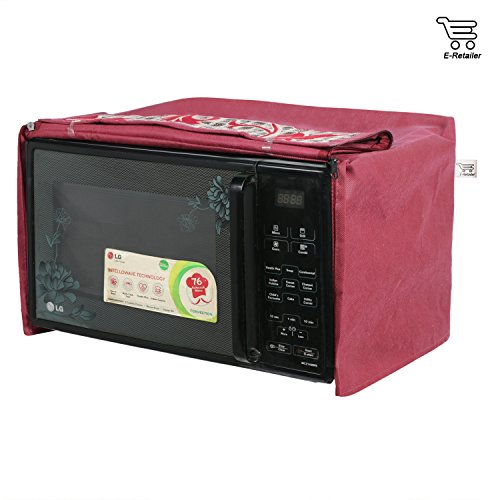 eretailer Polyester and Cotton Microwave Oven Cover with Maroon Flower Print for 23 L Capacity