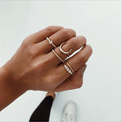 LnLyin 5 Stk Damen Midi Rings Süße Schöne Mond Diamant Ring Anzug (Süße Finger-ringe Für Frauen)