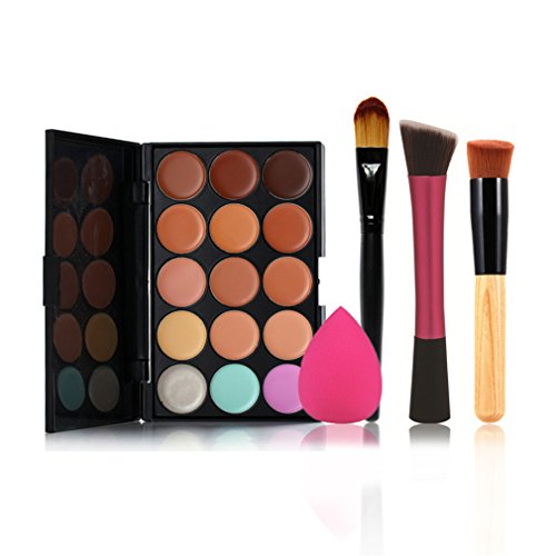 Pure Vie® 3 Pcs Pinceaux Maquillage Trousse + 1 Éponge Fondation Puff + 15 Couleurs Palette de Maquillage Correcteur Camouflage Crème Cosmétique Set - Convient Parfaitement pour une Utilisation Professionnelle ou à la Maison