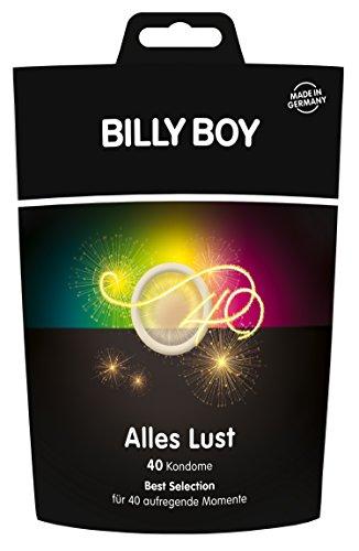 Billy Boy Kondome: 40-Stück \'Alles Lust\' Sortiment (bunt, perlgenoppt, aromatisiert, länger lieben, Extra dünn, Gefühlsintesiv, Extra feucht)