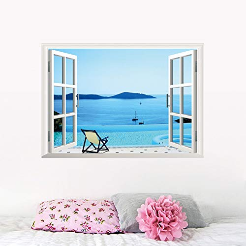 WLGOOD 3d Fensterwandaufkleber Strandkorb Resorts Segelboot Berg wohnzimmer Wandaufkleber Vinyl Aufkleber Wandbild Decor,Geschenk
