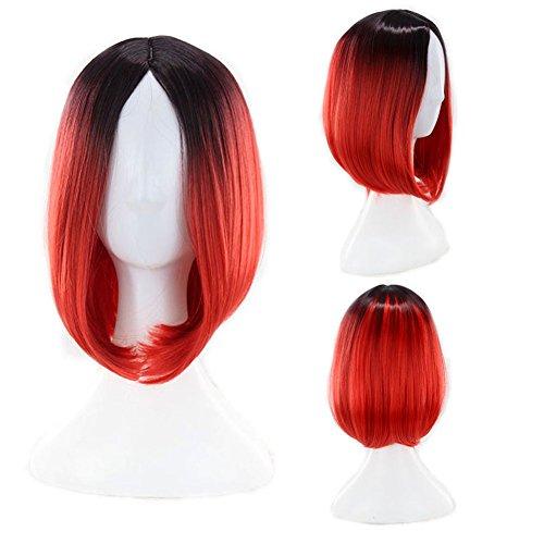 KroY PecoeD 12 Zoll Bob volle Perücken Ombre Farbe hitzebeständiges synthetisches glattes Haar(Red)