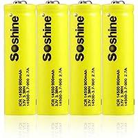 4pcs ICR 14500 3.7V 900mAh Batería Recargable de Iones de Litio con Estuche para LED Antorcha Linterna Juguete de Control Remoto Gadgets electrónicos - Amarillo y Blanco