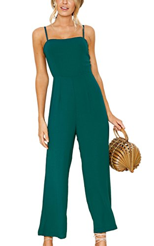ECOWISH Womens Jumpsuits Spaghetti Strap Backless Jumpsuit High Waist Wide Leg Long Pants Rompers