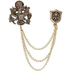 Knighthood Royal Eagle - Broche con Cadena y Escudo para Hombre