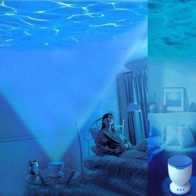 Flylinktech New Romantic LED Night Light Blue Ocean Sea Waves Projection Lamp Under Ocean Decoration with Mini Speaker