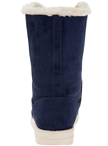 oodji Ultra Femme Bottes Chaudes avec Finition Contrastante Bleu (7900N)