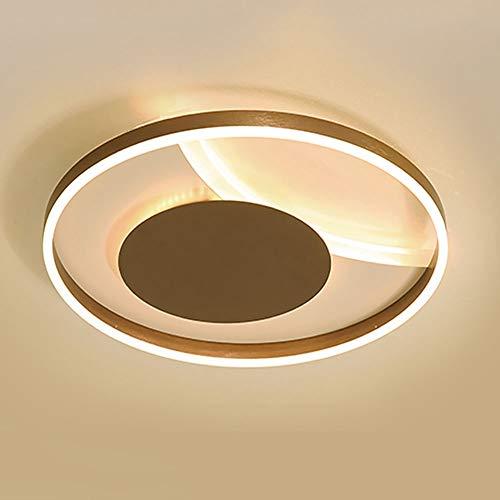 Braune Pendelleuchte (Dimmbare LED-Deckenleuchte, runde Deckenleuchte aus Aluminium mit flacher Montage, for Wohnzimmer, Schlafzimmer, Kinderzimmer, Esszimmer, braune Pendelleuchten, 3-farbige Lichtquelle (Size : 60CM))