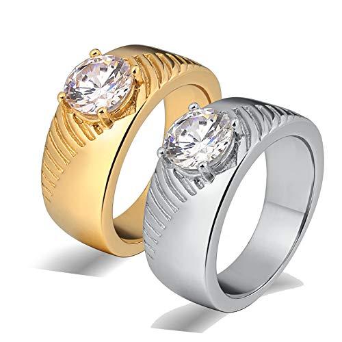 Amody 1 par Anillo Acero Inoxidable Matrimonio Anillo de Oro Plateado con Circonita Cúbica Anillo para Parejas Mujer 22 Hombre 20