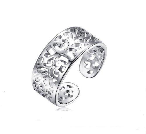 Unendlich U Wundershön Damen Ring 925 Sterling Silber Herz Bandring Verstellbare Größe von 49 (15.6) bis 60 (19.1)