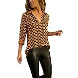 ESAILQ Damen BeiläUfige Lange HüLsen Leopard Druck Knopf T-Shirts Tops Bluse(Small,Gelb)