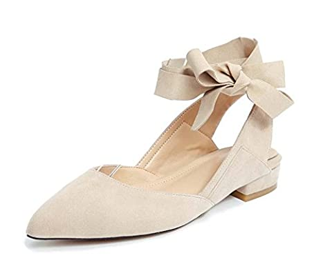 NobS Femmes Cuir pointu Toe Flat Dance Shoes Chaussettes de cheville Ballet Chaussures Nude Color Female Sandals , apricot , 34