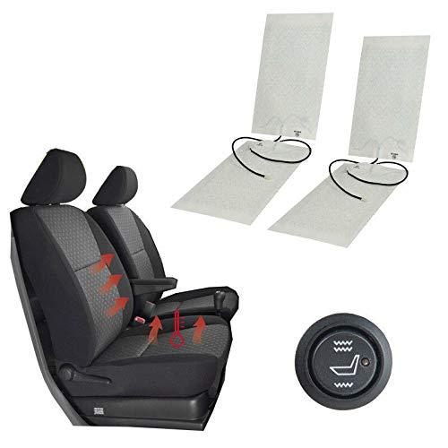 Auto Sitzheizung Carbon 12V Heizkissen Heizauflage beheizbare Sitzauflage Universal KFZ PKW 2 Stufe Schalter Car Seat Heater Kits für 2 Sitze