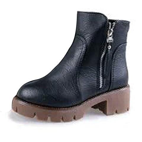 Low Boots Zip Arriere - Minetom Femme Classiques Bottes Chelsea Courtes Martin