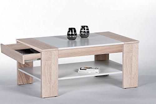 lifestyle4living Couchtisch, Tisch, Wohnzimmertisch, Salontisch, Sofatisch, Kaffeetisch, Clubtisch, Sonoma, Eiche, weiß, Schublade, B/H/T ca 100/44/58 cm