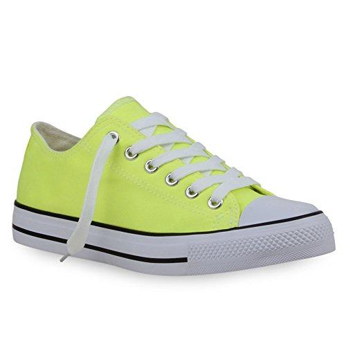 Damen Herren Kinder Unisex Schuhe Sneaker low Top Schnürschuh Halbhoch Neongelb