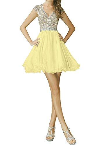 Sunvary Festlich Neu V-Neck Steine Paillette Cocktailkleider Chiffon Kurz Partykleider Abendkleid Gelb