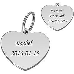 HooAMI Médaille Chien Chat Identification Coeur Gravure Personnalisé Prénom Adresse Tel en Acier Inoxydable avec Service Gratuit de Gravure 2.2x2.4cm