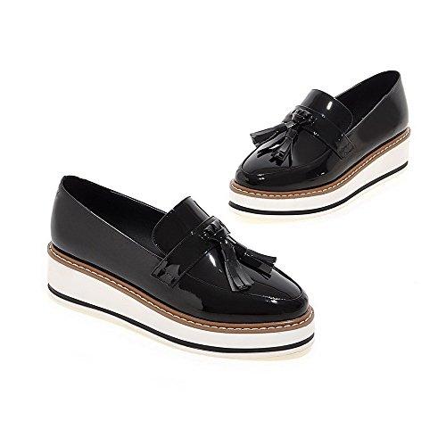 VogueZone009 Femme à Talon Correct Pu Cuir Couleur Unie Rond Chaussures Légeres Noir