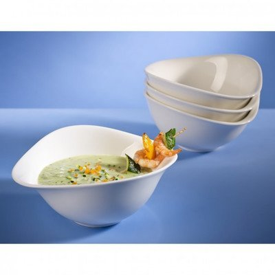 Villeroy & Boch Dune Bol Set / Hochwertige Schüssel aus Premium Porcelain in Weiß / Spülmaschinen- und mikrowellenfest / 4 teilig für 4 Personen