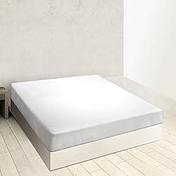 Burrito Blanco Sábana Bajera Ajustable Algodón 100% A8 para Cama Individual de 120x190 hasta 120x200 cm (Más Medidas Disponibles), Color Blanco