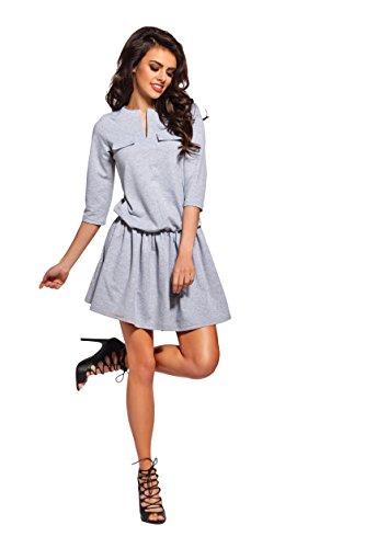 AmazingGirl Sportkleid Abendkleid Partykleid Elegant MiniKleid Cocktailkleider Grau