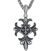 Aoiy - Collar con colgante de hombre de acero inoxidable, La flor de lis cruz, cadena de 61cm, ccp016