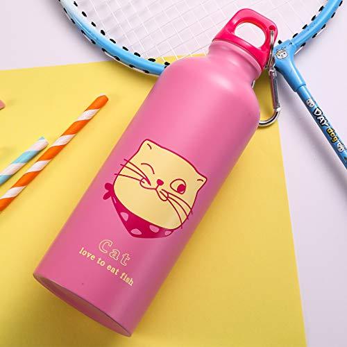 Bottiglia in acciaio inox isolamento sottovuoto a doppia parete, riutilizzabile bottiglie sportiva per bambino, scuola, palestra,500ml,pwtchenty