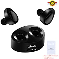 Qimh TWS Auricolare Mini Bluetooth 4.1 auricolari in ear cuffie senza fili per lo sport sweatproof stereo cuffie con auricolari morbidi