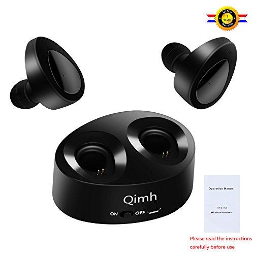 Foto de qimh Mini Bluetooth 4.2 auriculares in ear Auriculares inalámbricos para deportes a prueba de sudor auriculares estéreo con almohadillas suaves y gancho para la oreja (Black)