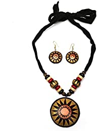 Tandra's Fashion Metallic Copper Black Colour Terracotta Necklace Set For Women And Girls